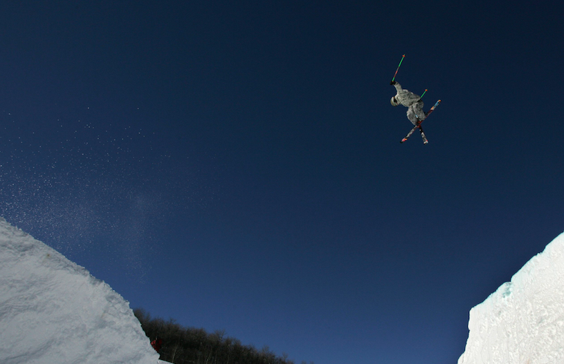 A Slopestyle skier spans his flight over 40 feet in practice of the Winter XGames at Buttermilk Ski Area near Aspen, Colo., Thursday, Jan. 25, 2007.