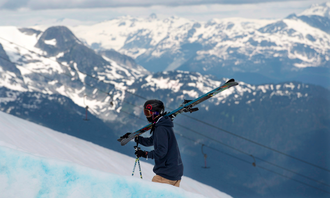 Olympian Rosalind Groenewoud of Calgary walks up the side of the half pipe on the Blackcomb Mountain in Whistler, B.C., Thursday, July 7, 2013. THE CANADIAN PRESS/Jonathan Hayward