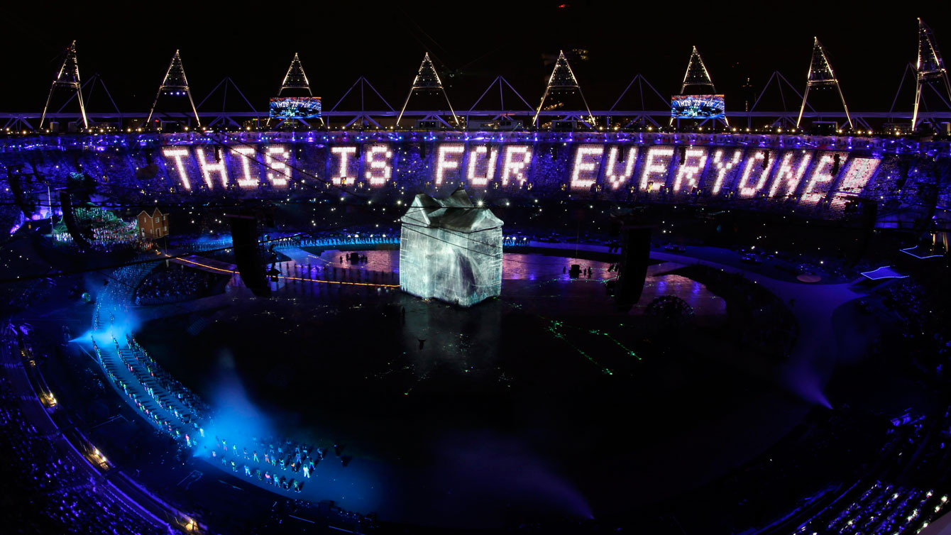 The London Olympic Stadium featured over 70,000 panels with LED lights.