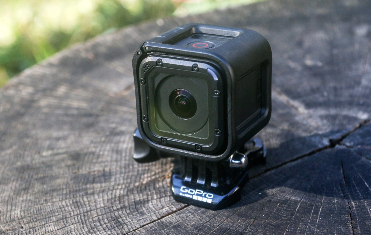 The GoPro HERO4 Session action camera is shown on Wednesday, Nov. 11, 2015, in Decatur, Ga. Action cameras are getting smaller, lighter, better and more connected. The waterproof, cube-shaped camera is capable of recording full high-defintion video and is half the size of previous models. (AP Photo/ Ron Harris)