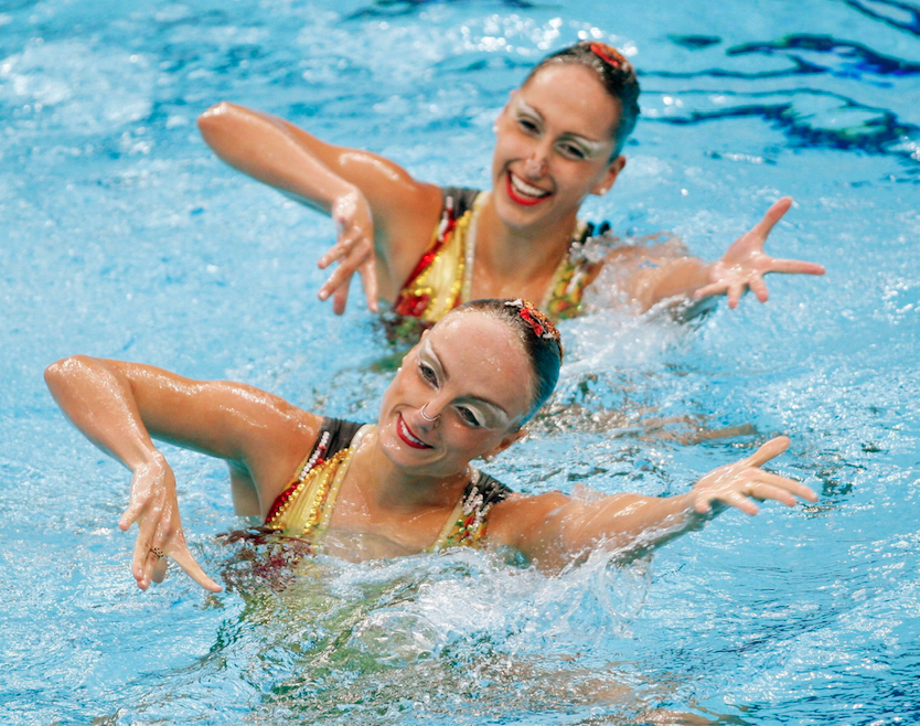 Canada's Marie-Pier Boudreau Gagnon, front, from Riviere-de-Loup, Que., and Isabelle Rampling, from Burlington, Que., perform in the synchronized swimming duet final at the 2008 Summer Olympics in Beijing. The pair finished in sixth place.