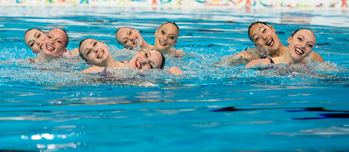 Team Canada perform their Gold medal winning routine in the Synchronized Swimming Team event at the Pan Am Games in Toronto on Saturday July 11, 2015. THE CANADIAN PRESS/Frank Gunn