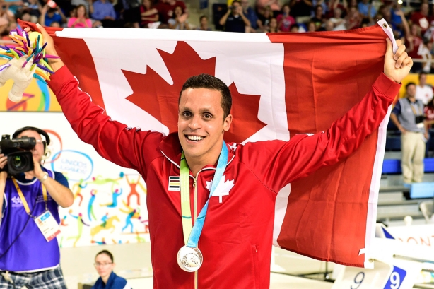 Zack Chetrat celebrates his bronze medal in the 200m butterfly at TO2015 Pan Am Games on July 14, 2015. Chetrat's medal was later upgraded to silver due to a doping infraction to silver medallist Mauricio Fiol of Peru.
