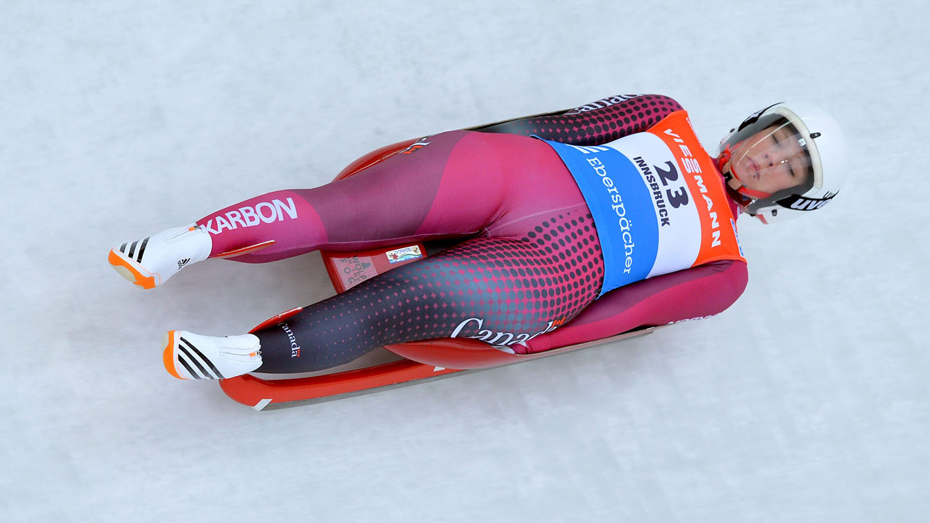 Alex Gough slides down the track during one of her two runs in Igls, Austria near Innsbruck, at the FIL Luge World Cup on November 28, 2015.