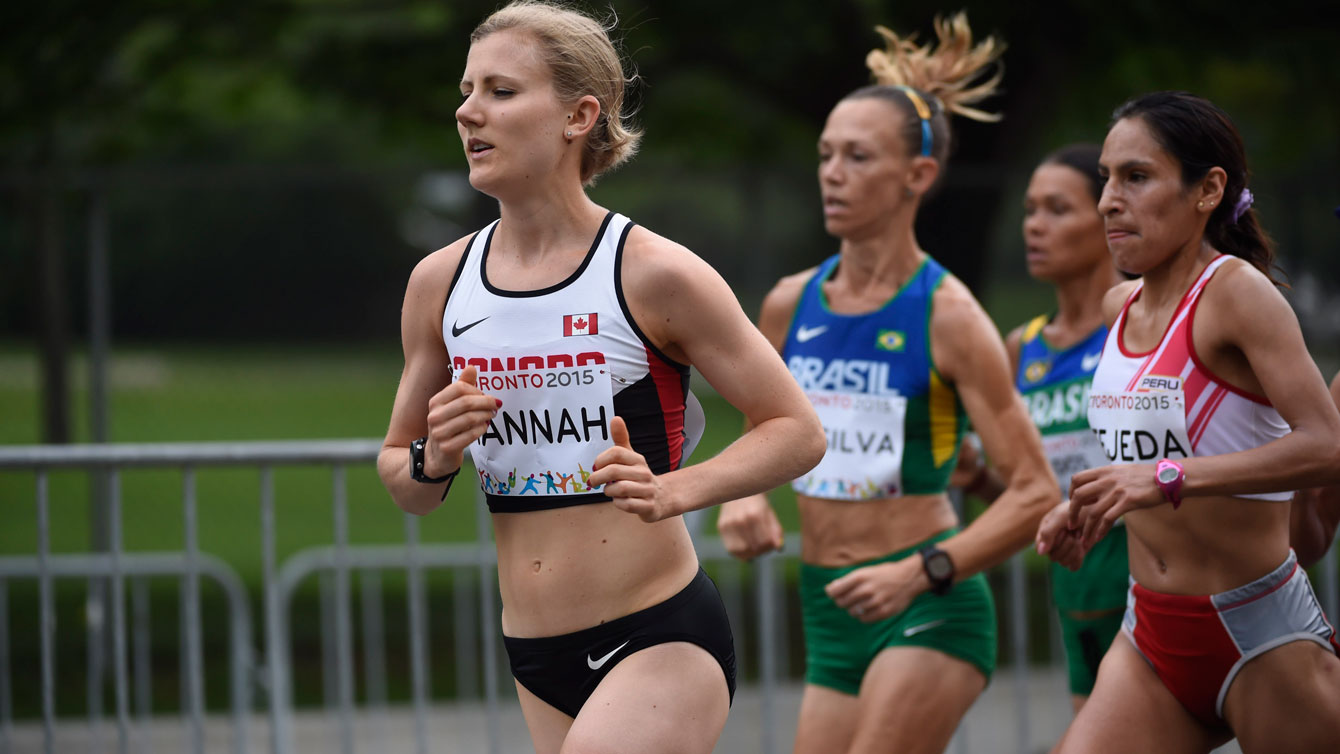 Rachel Hannah in the Toronto Pan Am Games women's marathon on July 18, 2015. Hannah finished fourth on the day, but was upgraded to bronze due to a doping disqualification to Gladys Tejada of Peru.