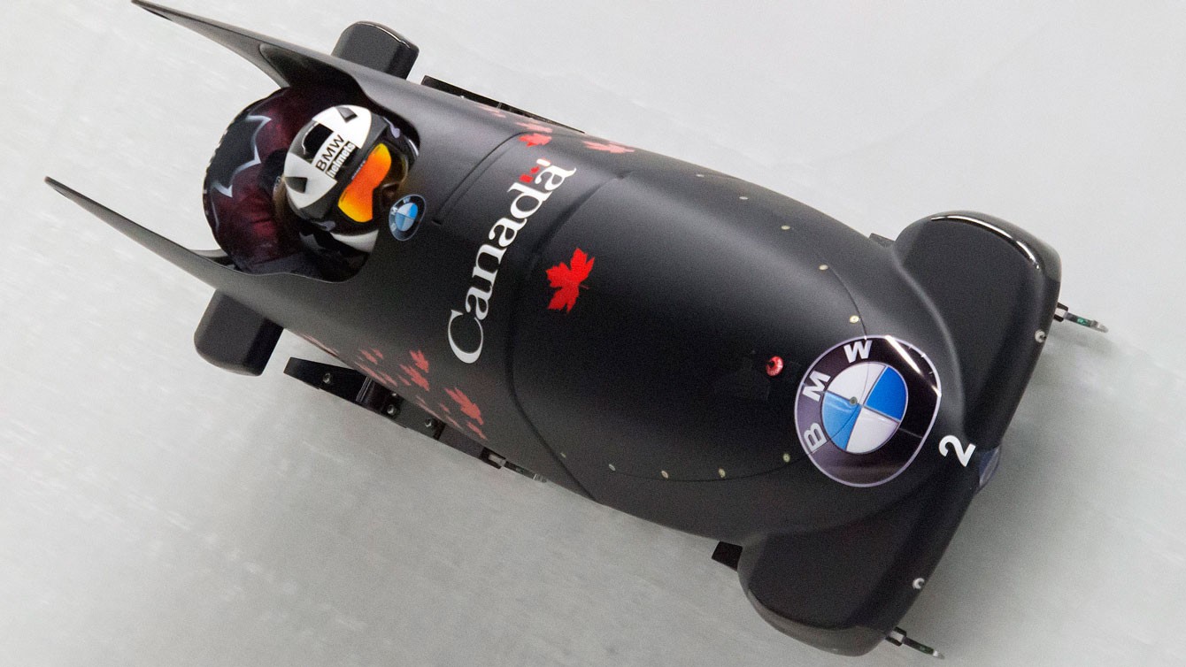 Kaillie Humphries and Melissa Lotholz during the opening race of the 2015-16 bobsleigh World Cup season in Altenberg, Germany on November 27, 2015.