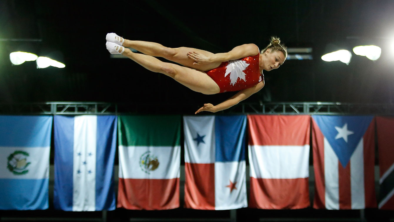Rosie MacLennan competes in the trampoline at the Toronto 2015 Pan American Games on July 19, 2015.
