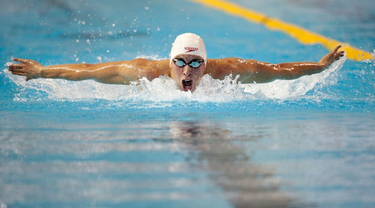 Alec Page competes in the 200m butterfly preliminary on July 14, 2015 at the Toronto 2015 Pan Am Games. Page finished fourth in the final, and was later bumped up to bronze due to a doping infraction to silver medallist Mauricio Fiol of Peru.
