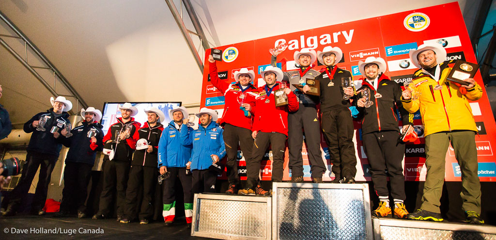 The second duo from left, Tristan Walker and Justin Snith just off the Luge World Cup doubles podium after fifth place in Calgary on December 18, 2015.
