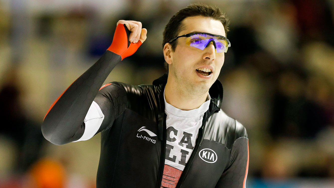 Alex Boisvert-Lacroix of Canada pumps his fist after skating to third place during the men's 500-metre competition at the ISU World Cup speed skating event in Calgary, Alta., Sunday, Nov. 15, 2015. THE CANADIAN PRESS/Lyle Aspinall