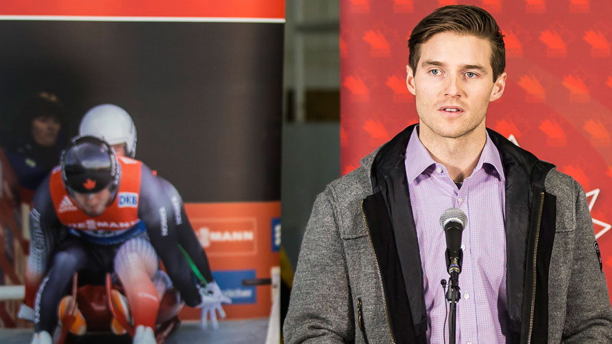 Brad Spence speaks at the Helmets for Heroes campaign launch on December 14, 2015 (Photo: Dave Holland/Luge Canada).