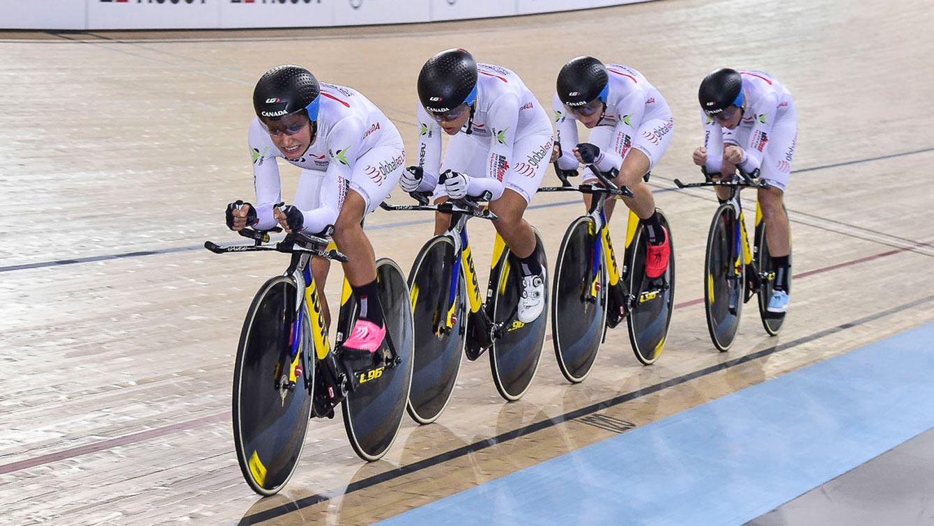 Women's Team Pursuit - Canada in New Zealand at UCI Track World Cup on December 5, 2015 (Photo: Rob Jones/Canadian Cyclist).