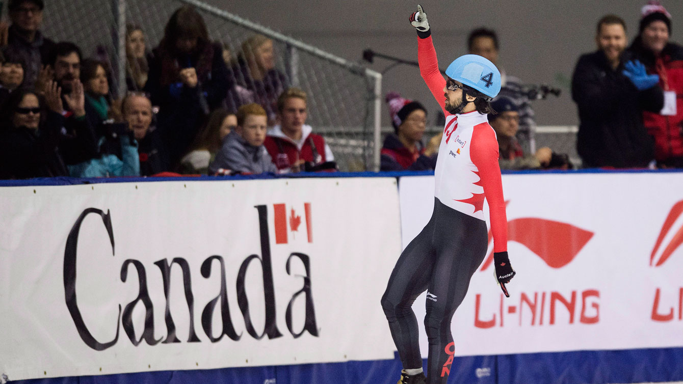 Charles Hamelin celebrates winning the 500m in the first-ever Toronto ISU World Cup stop in short track speed skating on November 8, 2015.