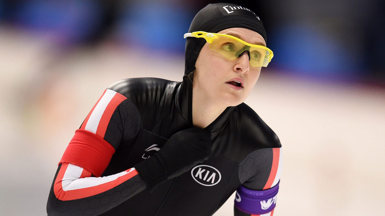 Heather McLean at the long track speed skating World Cup event in Inzell, Germany on December 6, 2015.
