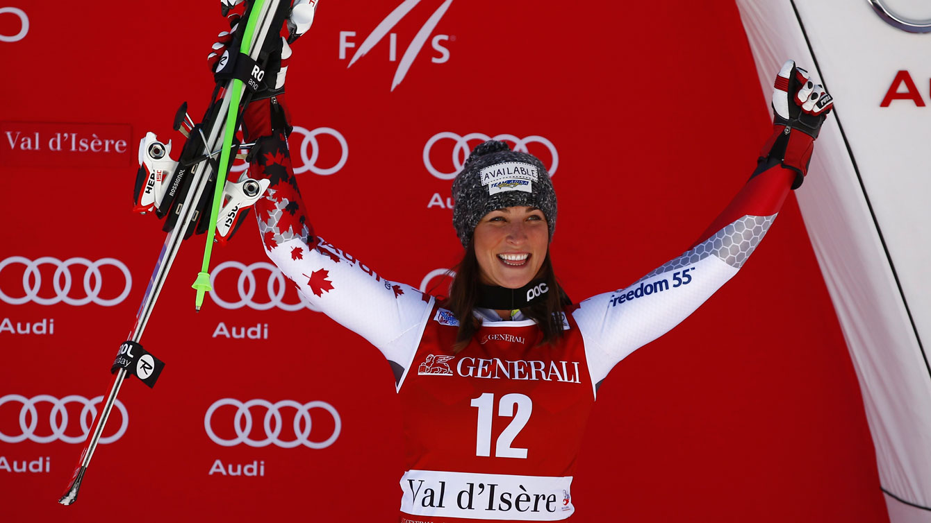 Larisa Yurkiw celebrates on the World Cup podium in Val d'Isere, France after a downhill third place finish on December 19, 2015.