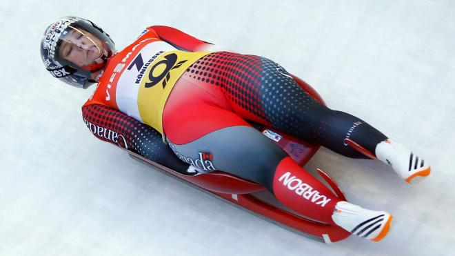 Alex Gough competes in the women's singles at at the 2016 FIL World Luge Championships on January 30, 2016.