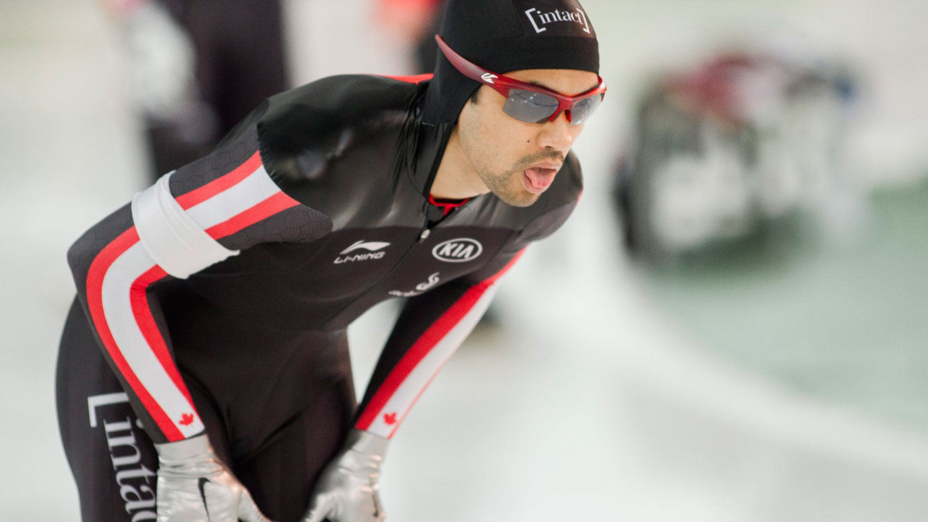 Gilmore Junio catches his breath after skating to a World Cup bronze in the 500m at Stavanger, Norway on January 31, 2016.