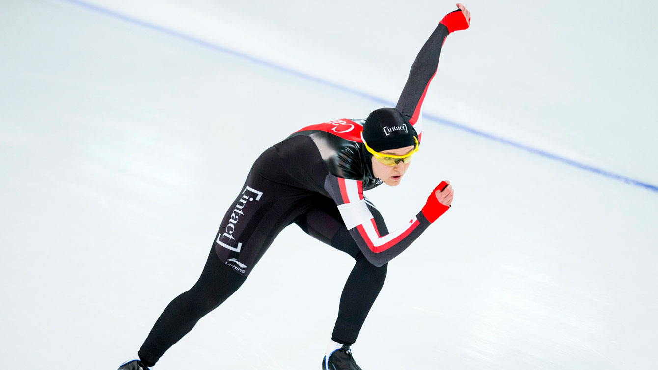 Heather McLean during the second women's 500m World Cup race at Stavanger, Norway on January 30, 2016.
