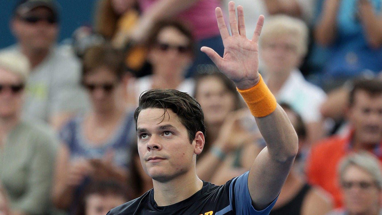 Milos Raonic waves to the crowd after winning at Brisbane International on January 8, 2016.