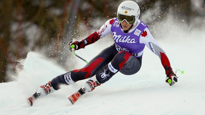 Larisa Yurkiw during the World Cup downhill race in Altenmarkt, Austria on January 9, 2016.