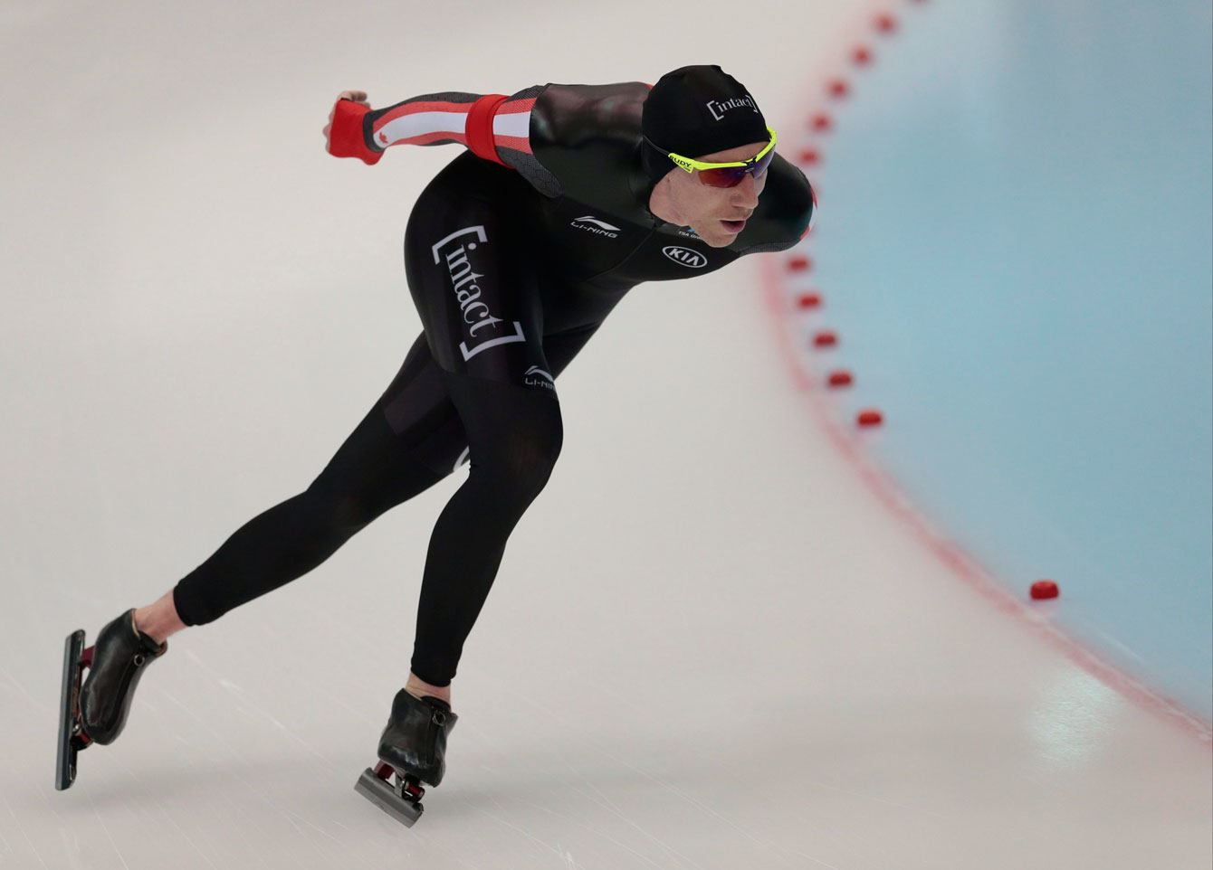 Ted-Jan Bloemen, of Canada, competes to take the silver at the men's 10,000 metres of the World Single Distances Speed Skating Championships in Kolomna, Russia, on Thursday, Feb. 11, 2016. (AP Photo/Ivan Sekretarev)