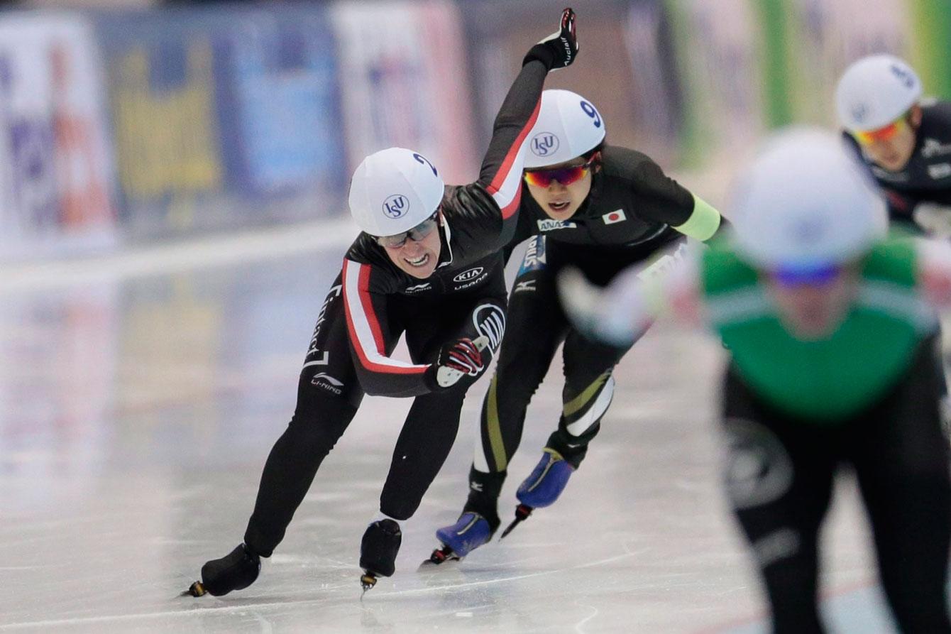 Ivanie Blondin, of Canada, finishes to win the women's mass start race of the World Single Distances Speed Skating Championships in Kolomna, Russia, on Sunday, Feb. 14, 2016. (AP Photo/Ivan Sekretarev)