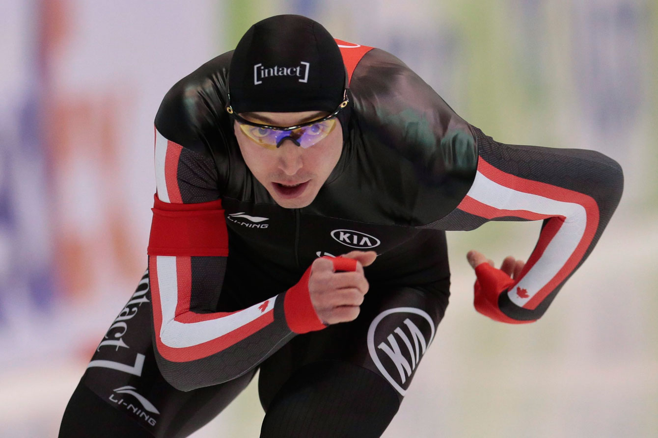 Alex Boisvert-Lacroix, of Canada, competes to take the bronze at the men's 500 metres of the World Single Distances Speed Skating Championships in Kolomna, Russia, on Sunday, Feb. 14, 2016. (AP Photo/Ivan Sekretarev)