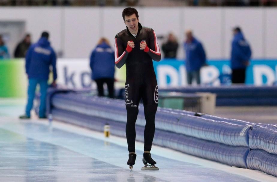 Alex Boisvert-Lacroix reacts after a race