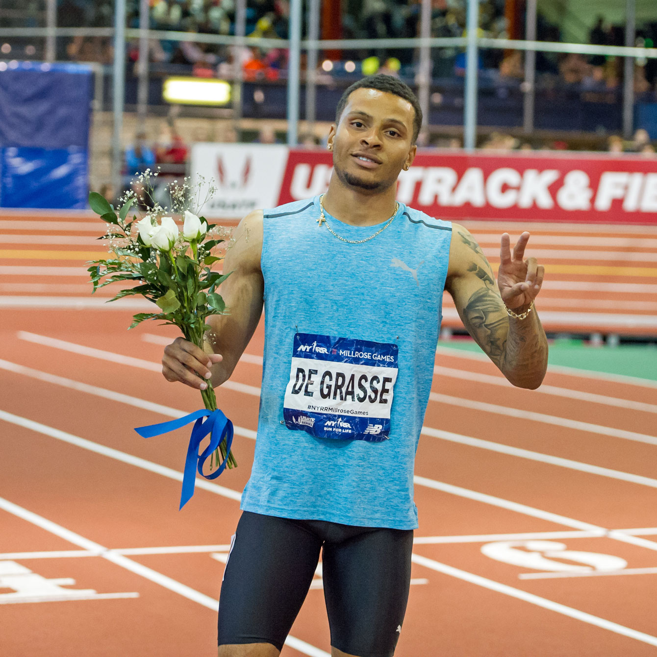 Andre De Grasse after winning the 60m race at the 2016 Millrose Games in New York City on February 20, 2016 (Photo: Robert Lombardo).