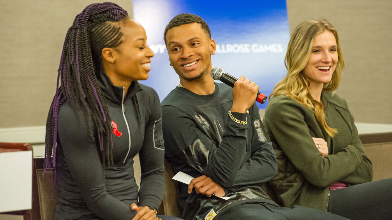 Andre De Grasse (centre) with fellow Canadian Brianne Theisen-Eaton (right) and American Natasha Hastings prior to racing at the 2016 Millrose Games in New York City on February 20, 2016 (Photo: Robert Lombardo).