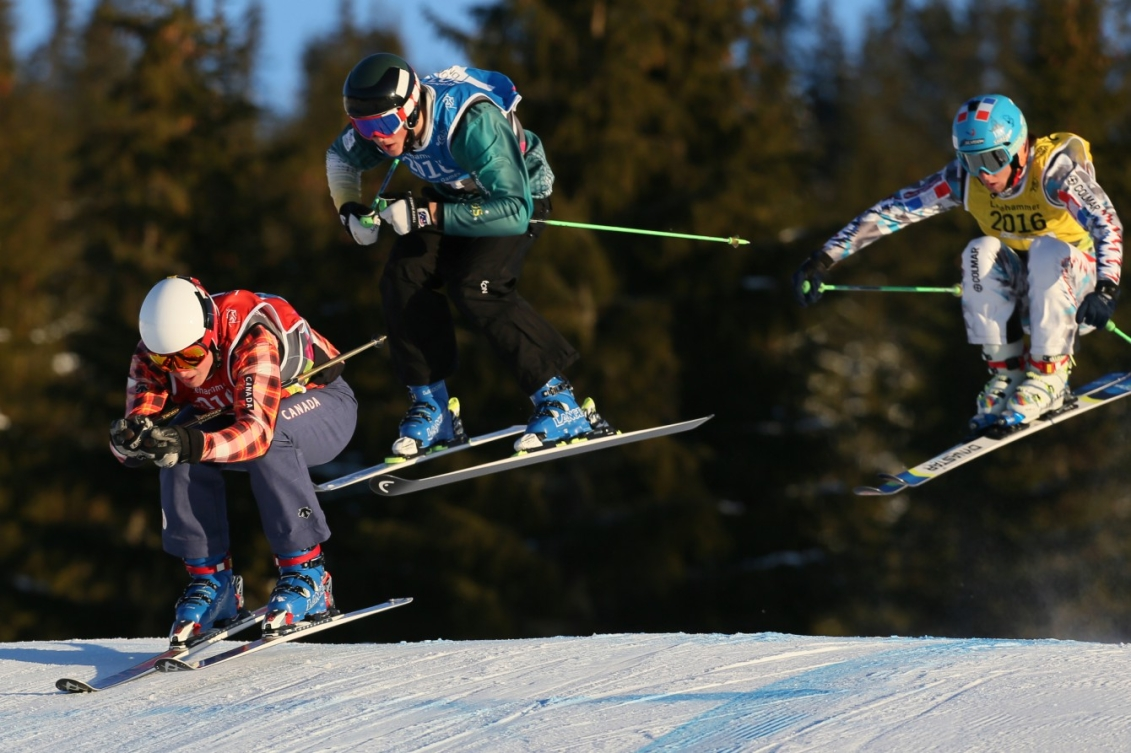 (From L) Reece Howden CAN, Louis Muhlen AUS and Matteo Lucatelli FRA compete during the Men's Ski Cross finals at the Hafjell Freepark during the Winter Youth Olympic Games, Lillehammer Norway, 15 February 2016. Photo: Arnt Folvik for YIS/IOC Handout image supplied by YIS/IOC