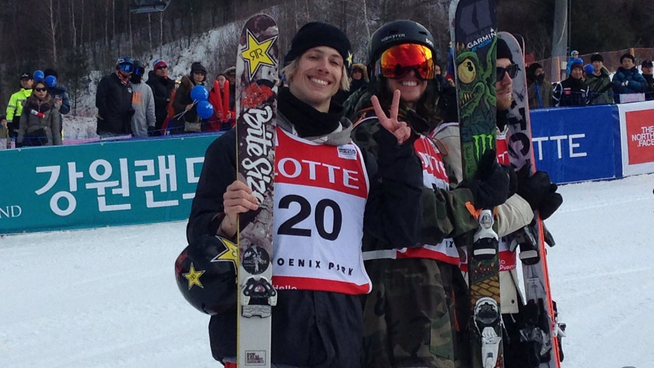 Alex Bellemare (left) celebrates his World Cup win in ski slopestyle at a Pyeongchang 2018 test event on February 20, 2016.