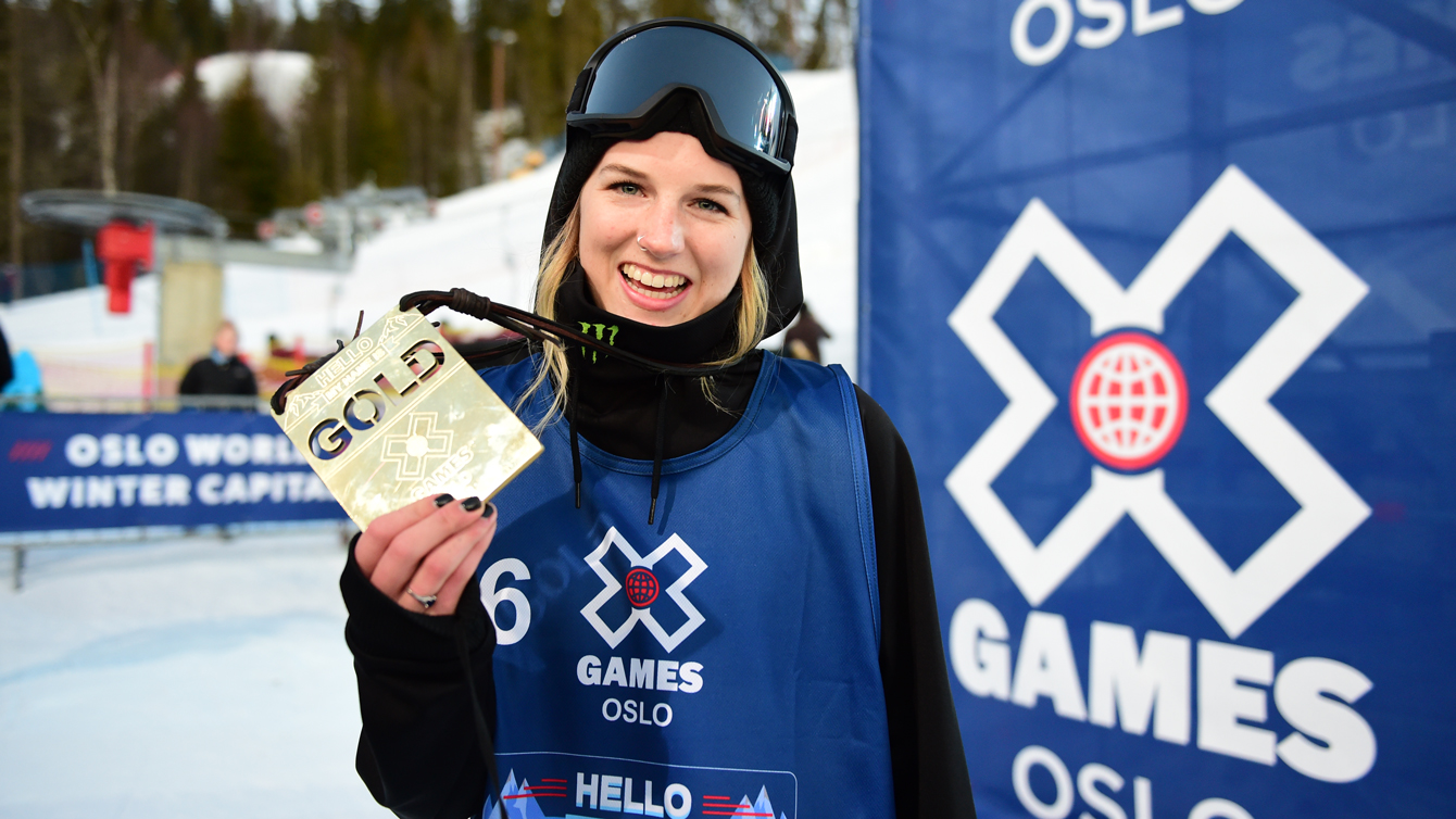 Cassie Sharpe after winning X Games superpipe gold in Oslo on February 28, 2016. (Phil Ellsworth / ESPN Images)