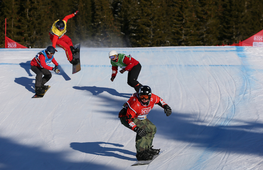 (From Right) Evan Bichon CAN, Pascal Bitschnau SUI, Muhammed Ikbal Yilmaz TUR, Valentin Miladinov BUL compete during the Men's Snowboard Cross qualifications at the Winter Youth Olympic Games, Lillehammer Norway, 15 February 2016. Photo: Arnt Folvik for YIS/IOC Handout image supplied by YIS/IOC