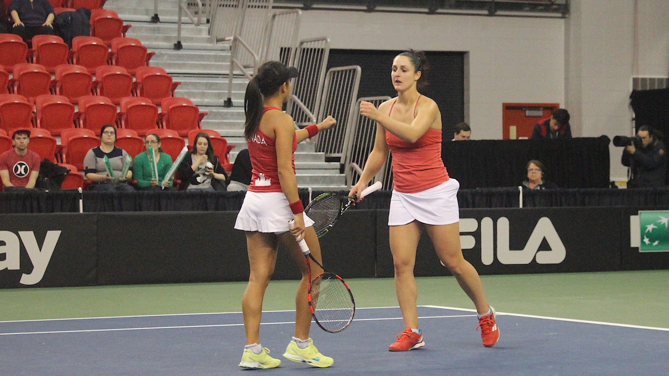 Carol Zhao (left) and Gabriela Dabrowski during their Fed Cup doubles match against Belarus in Quebec City on February 7, 2016.