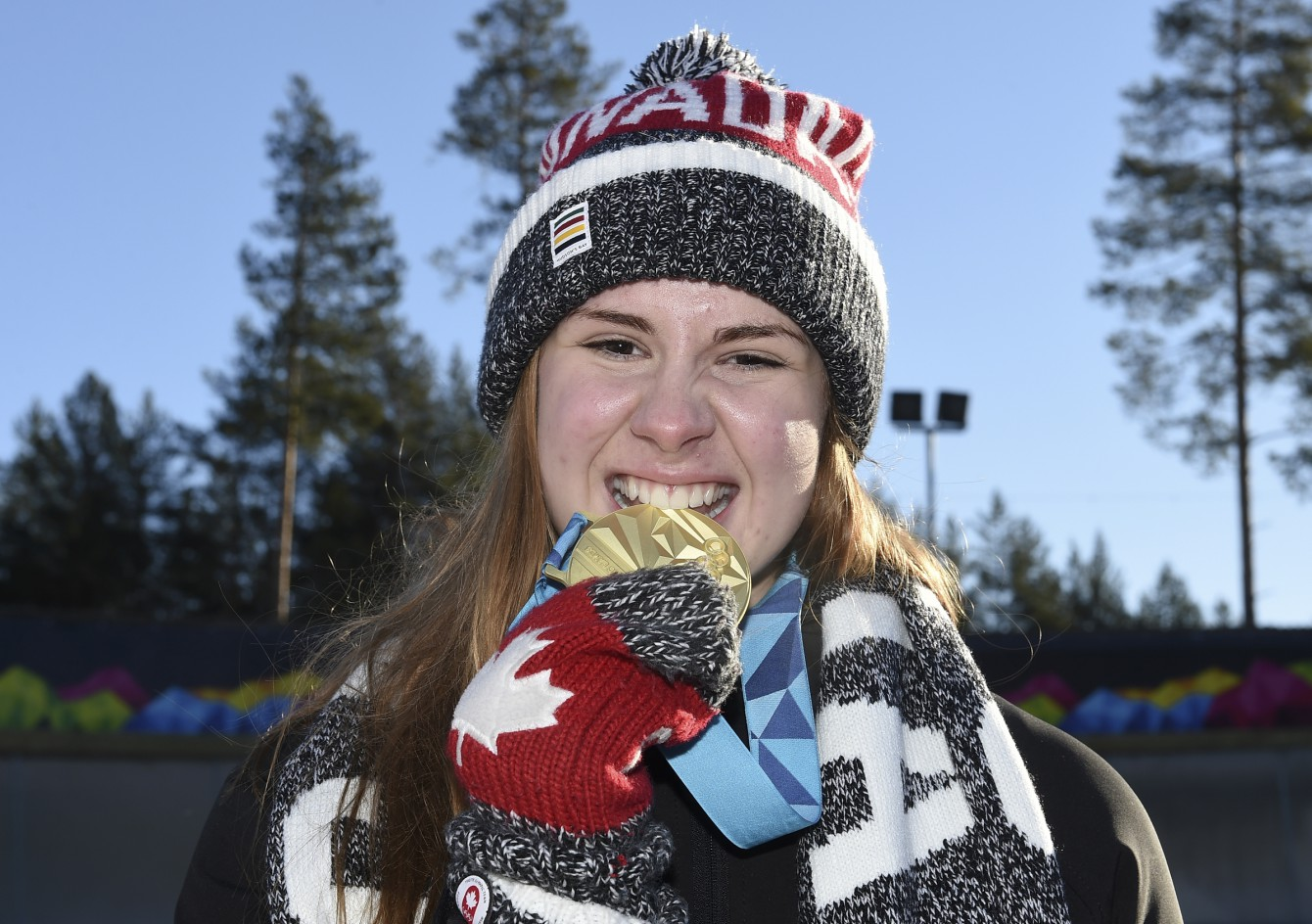 Brooke Apshkrum CAN poses for a photo after winning the Luge Women's Singles competition at Lillehammer Olympic Sliding Centre during the Winter Youth Olympic Games, Lillehammer, Norway, 15 February 2016. Photo: Jon Buckle for YIS/IOC Handout image supplied by YIS/IOC