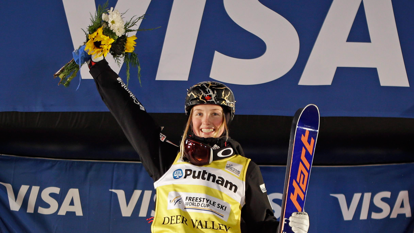 Justine Dufour-Lapointe atop the podium after winning dual moguls World Cup in Utah on February 6, 2016.