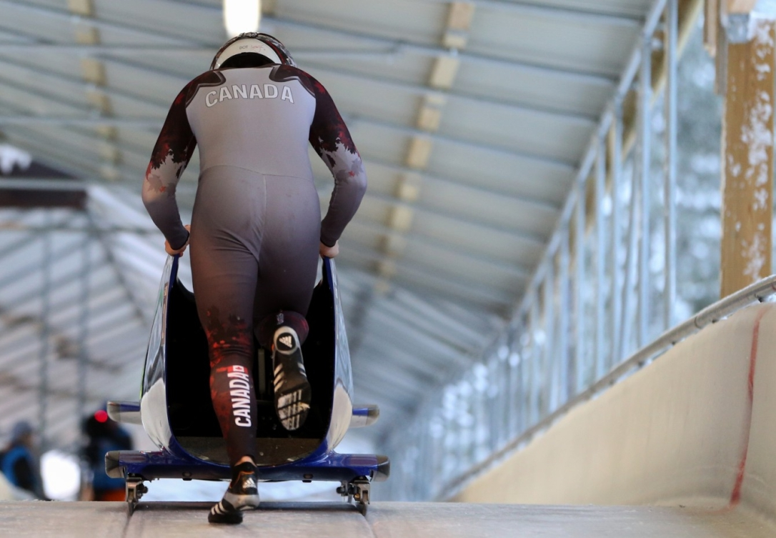Parker Reid CAN competes in the Men's Monobob competition at the Lillehammer Olympic Sliding Centre during the Winter Youth Olympic Games, Lillehammer, Norway, 20 February 2016. Photo: Jed Leicester for YIS/IOC Handout image supplied by YIS/IOC
