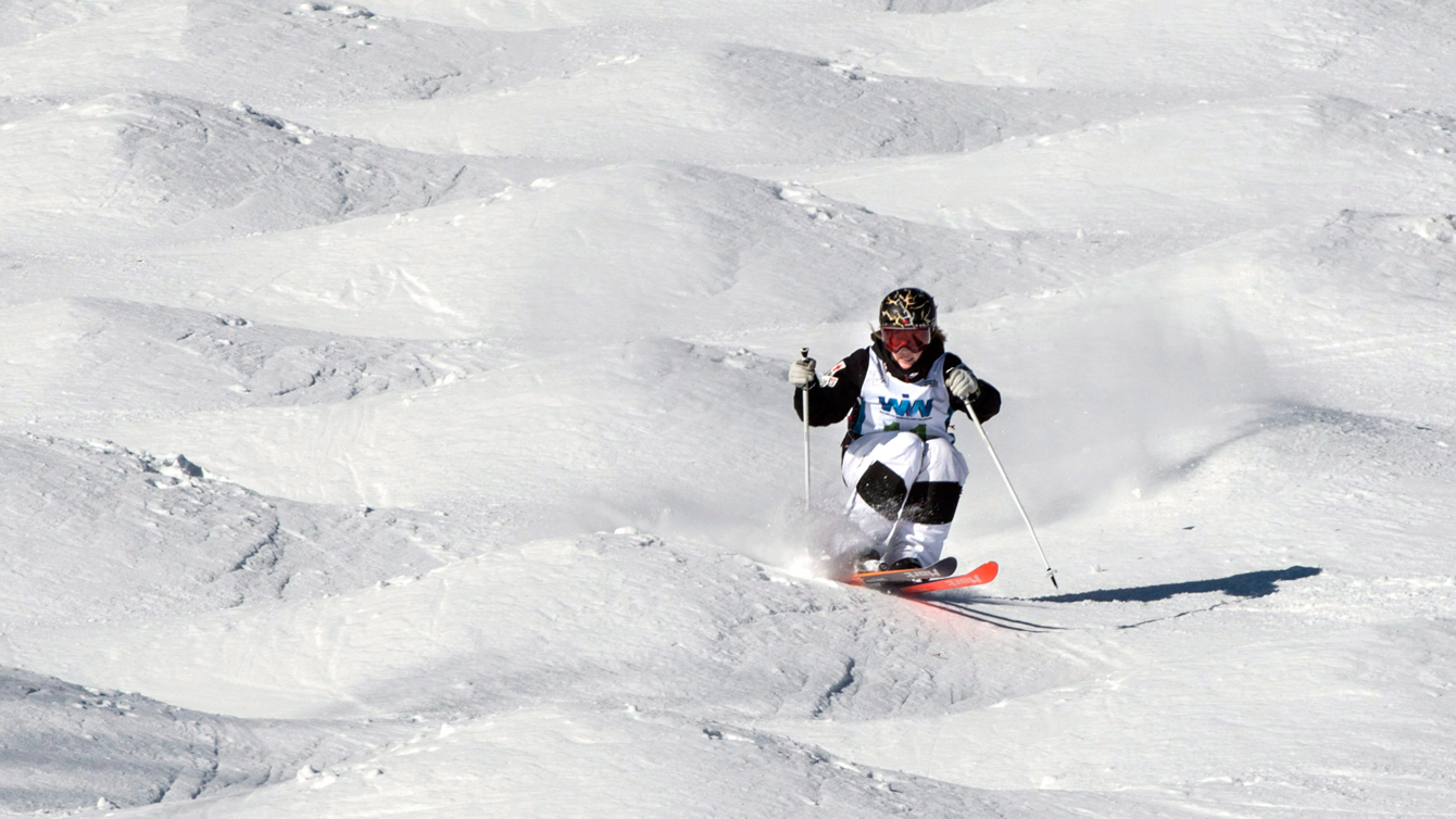 Justine Dufour-Lapointe in the women's moguls competition at the FIS Freestyle Ski World Cup on January 23, 2016 in Val St-Come, Que.