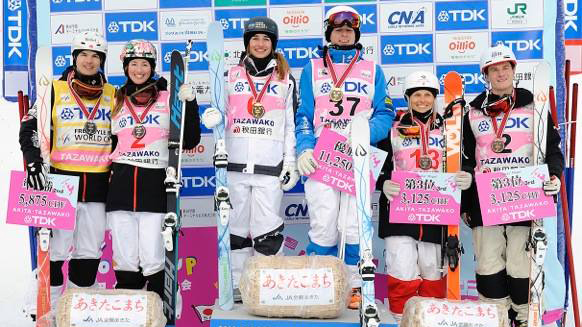 Canadians land three of six moguls podiums at the FIS World Cup in Japan on February 27, 2016. (HIROYUKI SATO)