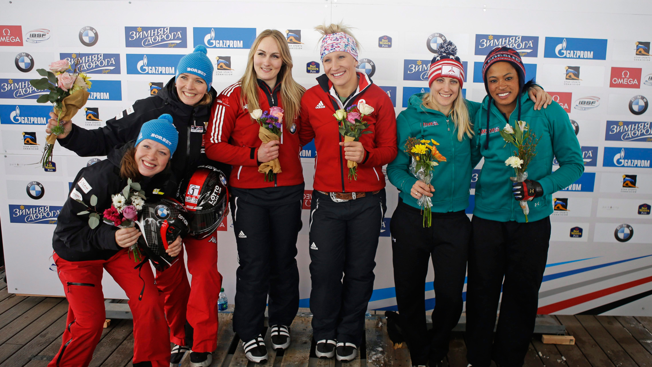 Melissa Lotholz and Kaillie Humphries after winning the women's bobsled World Cup race January 15, 2016, in Park City, Utah.