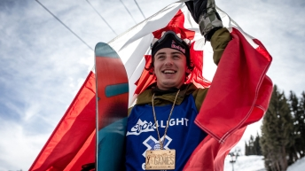 Mark McMorris celebrates after winning X Games Gold in snowboard slopestyle