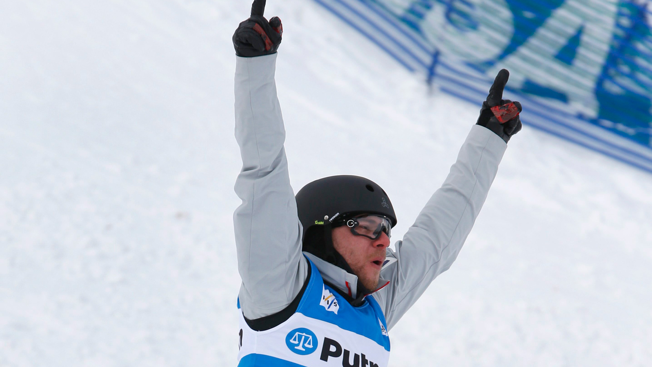 Olivier Rochon celebrates a second place finish in the men's aerial event during the FIS World Cup freestyle skiing competition Thursday, Feb. 4, 2016, in Deer Valley, Utah. (AP Photo/George Frey)