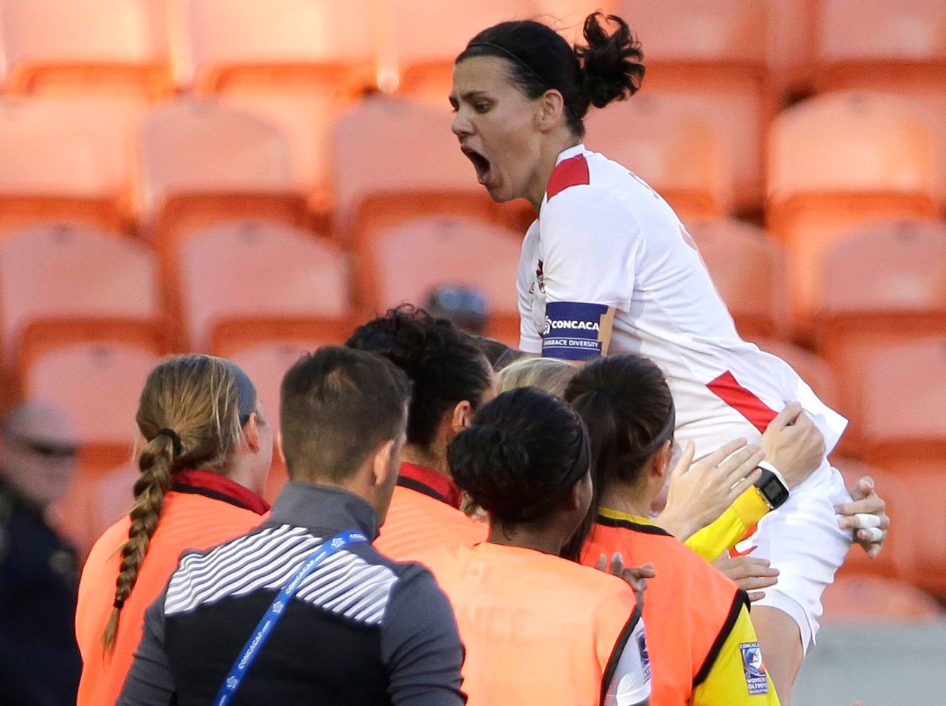 Christine Sinclair celebrates her first goal against Costa Rica during the Olympic qualifying semifinal match on February 19, 2016.