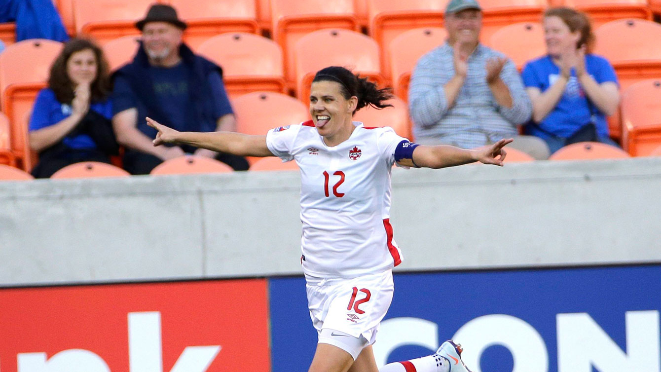 Christine Sinclair celebrates her opening goal against Costa Rica in Olympic qualifying on February 19, 2016.