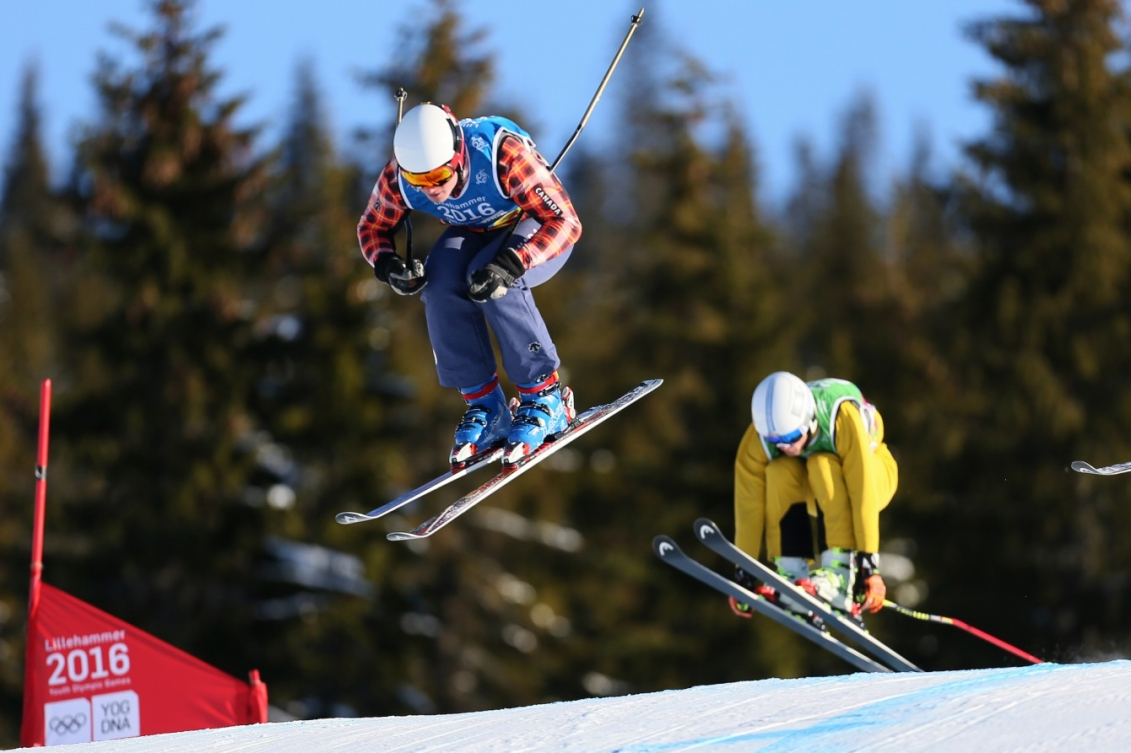 Reece Howden CAN (Left) and Cornel Renn GER compete during the Men's Ski Cross at the Hafjell Freepark at the Winter Youth Olympic Games, Lillehammer Norway, 15 February 2016. Photo: Arnt Folvik for YIS/IOC  Handout image supplied by YIS/IOC