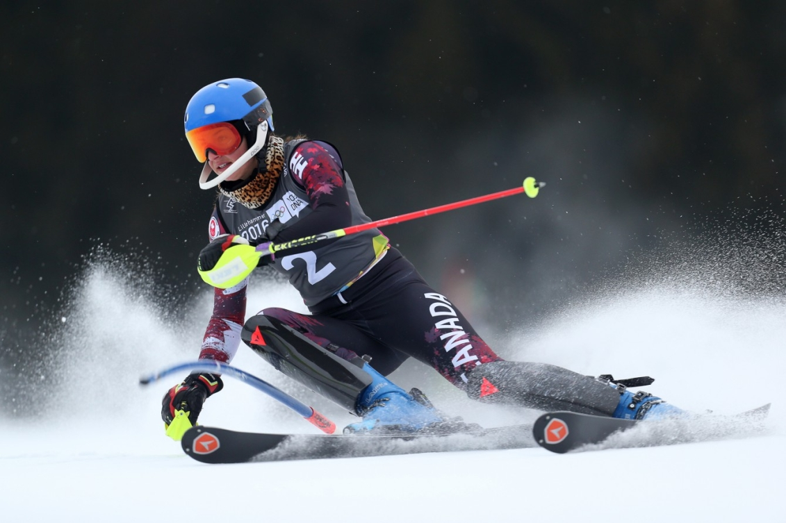 Ali Nullmeyer CAN competes during the Alpine Skiing Ladies' Slalom at the Hafjell Olympic Slope during the Winter Youth Olympic Games, Lillehammer Norway, 18 February 2016. Photo: Jed Leicester for YIS/IOC Handout image supplied by YIS/IOC