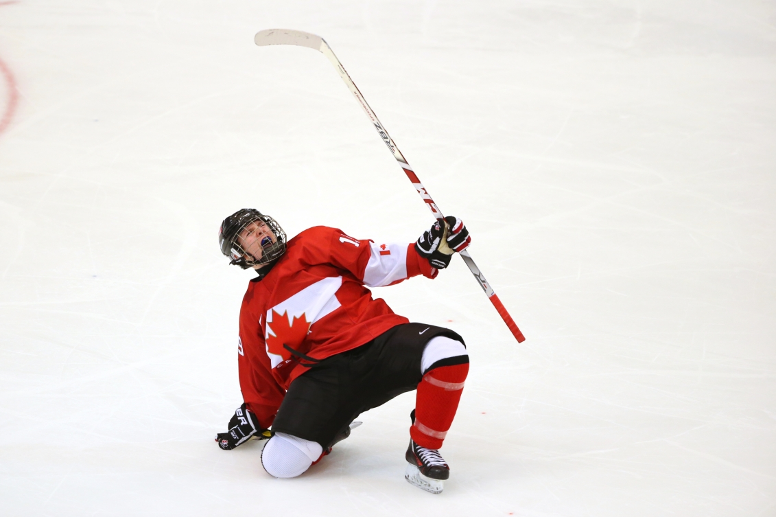 Allan McShane CAN celebrates after scoring during the Ice Hockey men's final between Canada and USA at the Kristins Hall during the Winter Youth Olympic Games, Lillehammer, Norway, 21 February 2016. Photo: Jed Leicester for YIS/IOC Handout image supplied by YIS/IOC