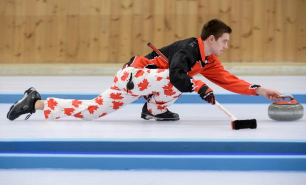Tyler Tardi CAN is seen in action during the Mixed Doubles Finals Bronze Medal Game at Lillehammer Curling Hall during the Winter Youth Olympic Games, Lillehammer, Norway, 21 February 2016. Photo: Jon Buckle for YIS/IOC Handout image supplied by YIS/IOC