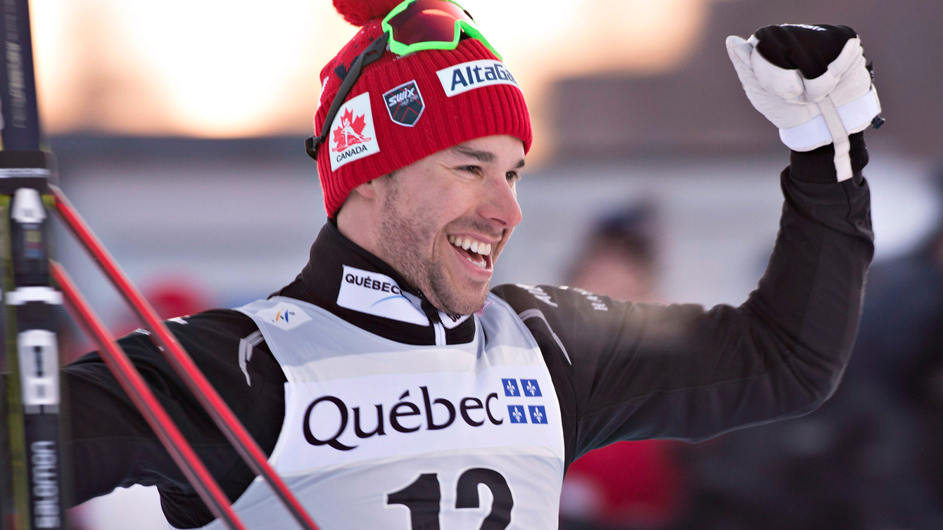 Alex Harvey reacts to his second place finish in the men's 1.7 km sprint at the FIS World Cup on in Quebec City in March 4, 2016. (Jacques Boissinot)